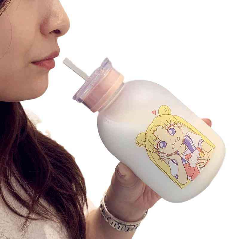 Transparent Plastic Water Bottle Cartoon Frosted- Water Bottles Leak Proof Drinkware