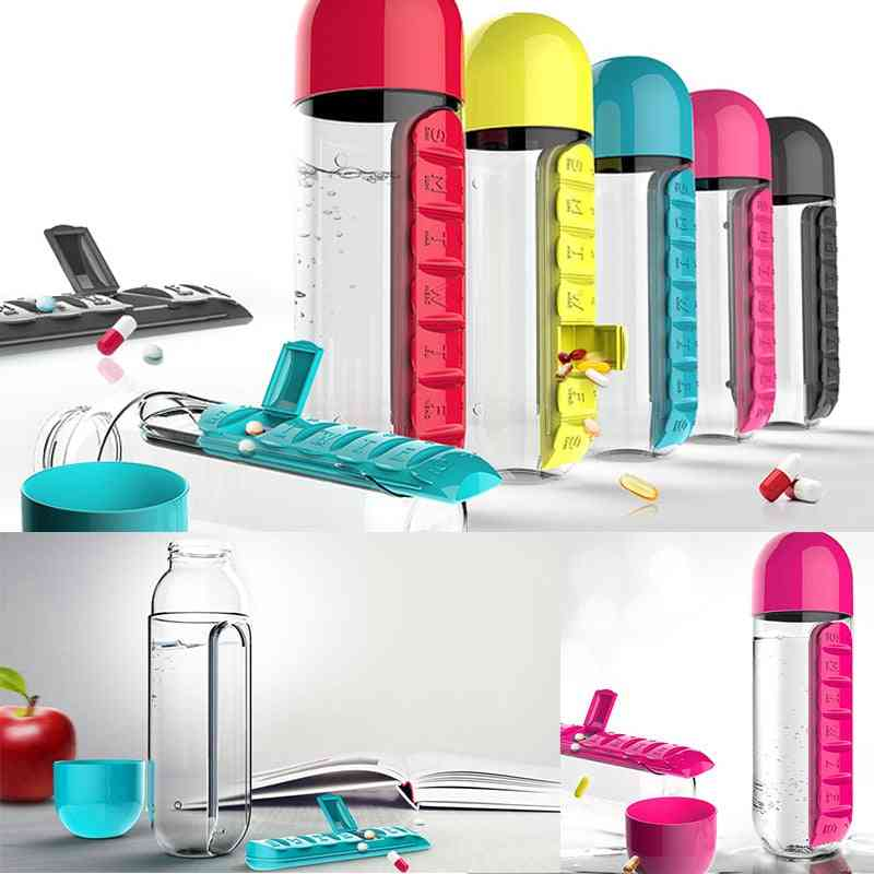 Water Bottles Plastic Drink Bottle With Pill Travel Box