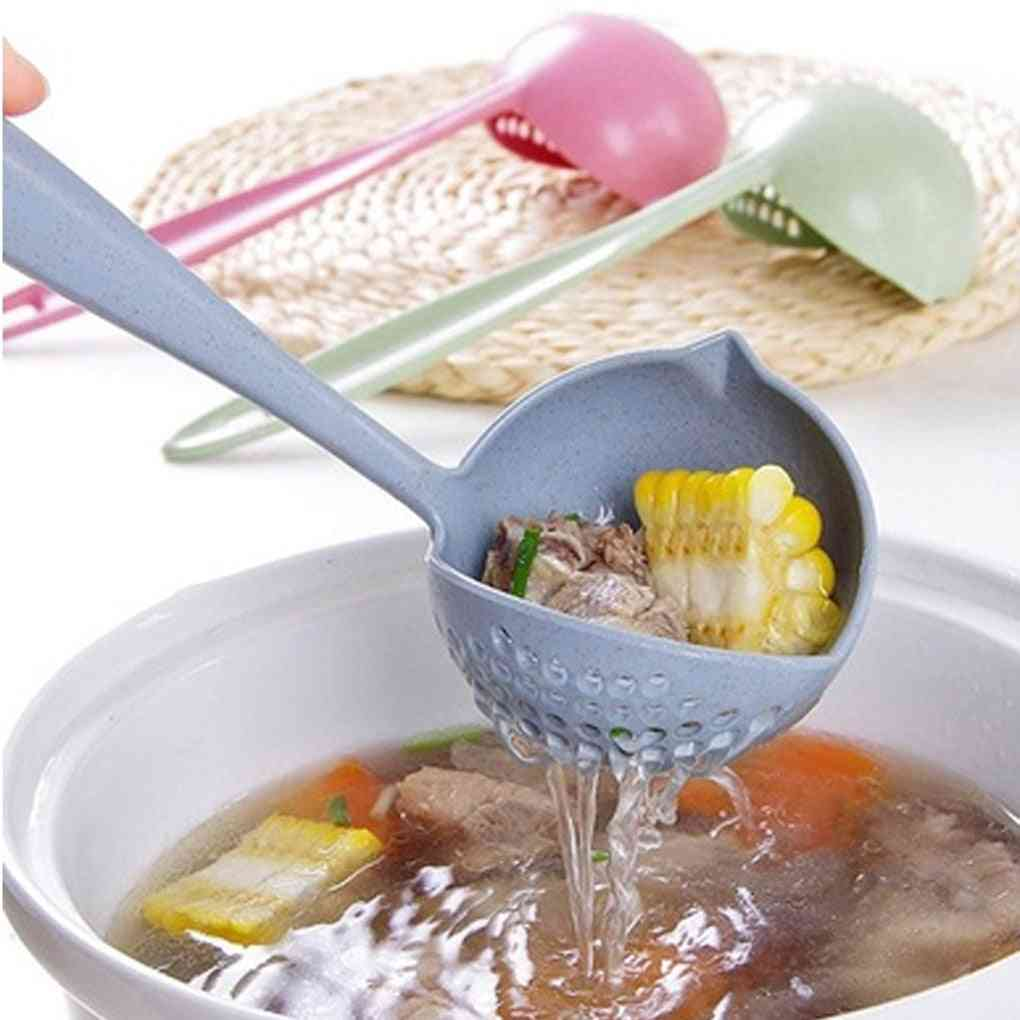 Hot Selling 2 In 1 Long Handle Soup Spoon - Home Strainer For Cooking Purpose