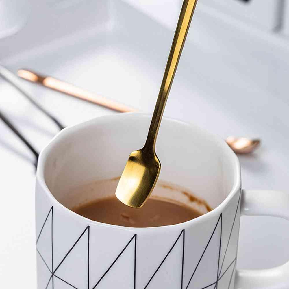 Long Square Spoon Cutlery - Stainless Steel Round Tea Coffee Spoon For Yogurt , Ice Cream Or Dessert
