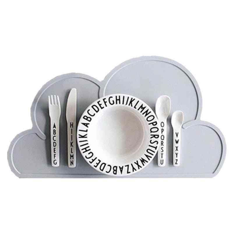 Cloud Shape Placemat Kids Plate Mat Food Grade Silicone Table Pad, Waterproof Heat Insulation