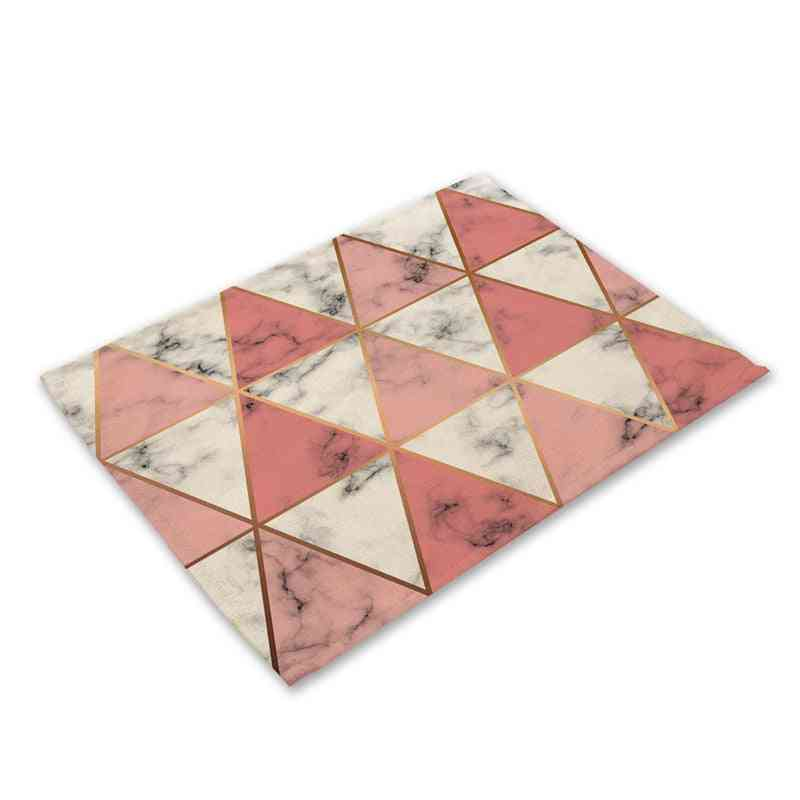 Geometric Marble Printed Kitchen Placemat Dining Table Mat, Coaster Pads Cup Mats