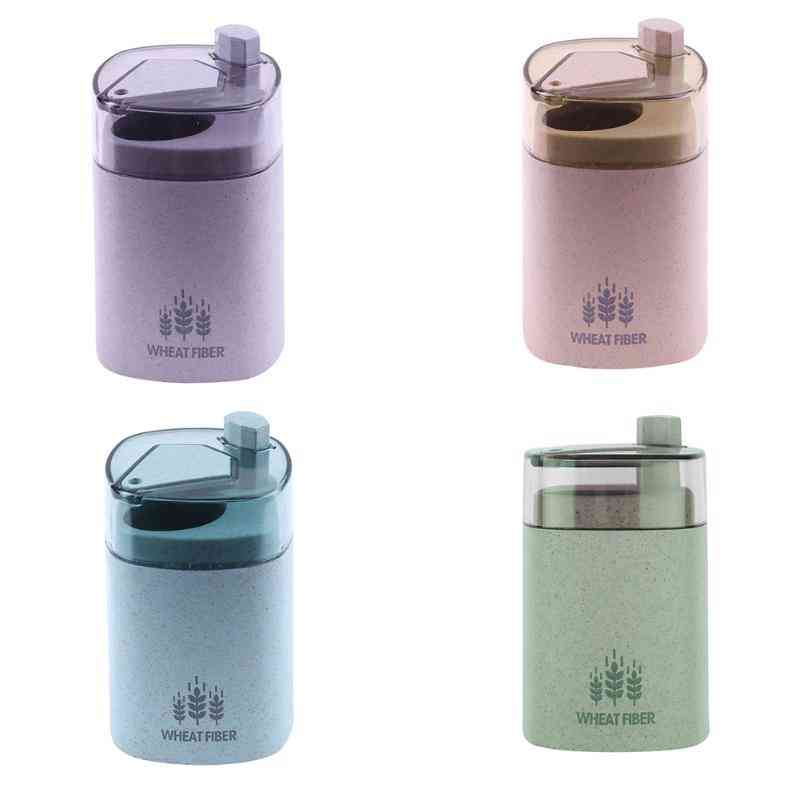 Automatic Toothpick Holder Container Wheat Straw Household Table Toothpick Storage Box
