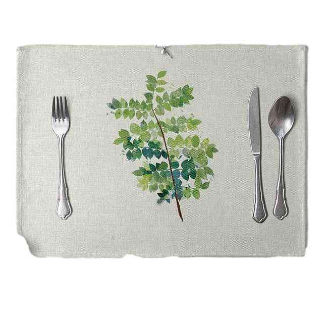Table Mat Hand Painted Green Leaves Printed For Tables Heat Insulation Linen Kitchen Dining Pads
