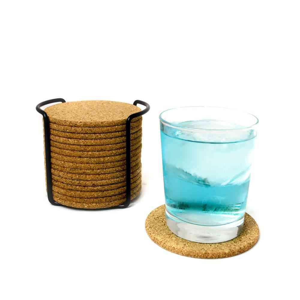 Natural Round Wooden Slip Slice Cup Mat Coaster, Tea Coffee Mug Drinks Holder
