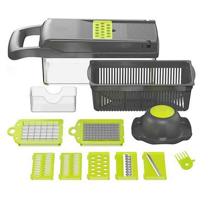 Vegetable Fruit Slicer Cutter - Multifunctional Potato Peeler, Carrot Grater, Drain Basket Kitchen Tool