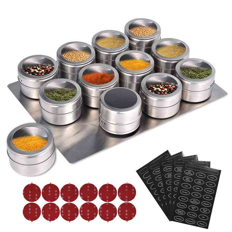 Magnetic Spice Jars With Wall Mounted Rack Stainless Steel- Tins Spice Seasoning Containers
