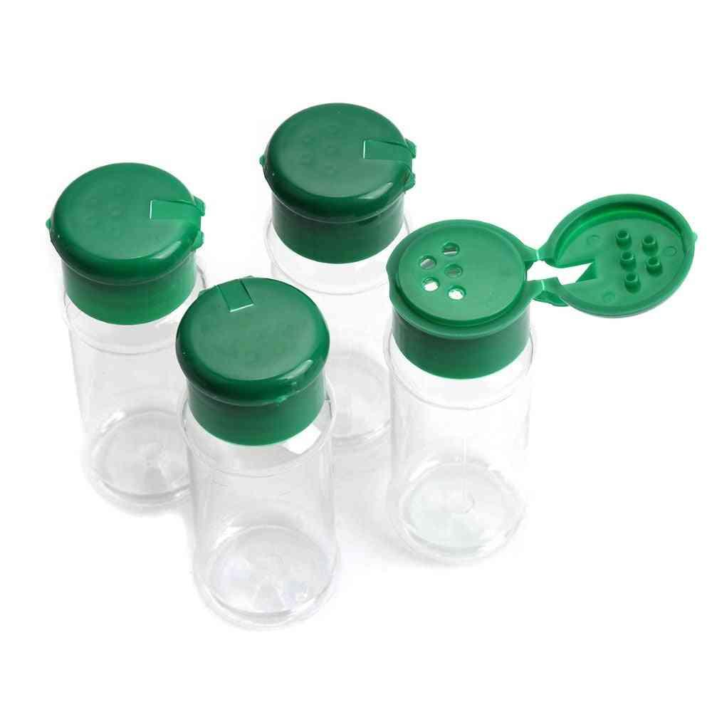 4 Pcs Plastic Jar Spice-salt, Pepper, Shakers Seasoning Bottle