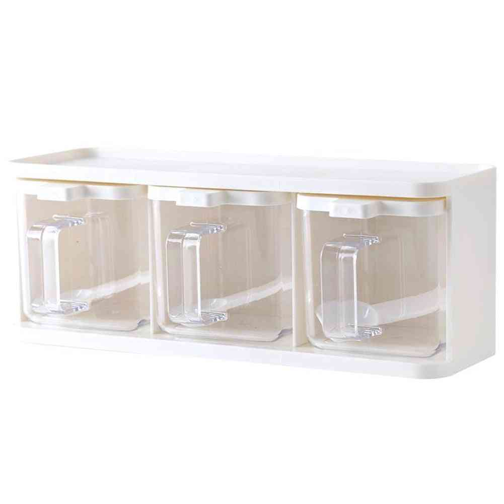 Spice Rack Grids Seasoning Storage Box With Lid Container And Spoon