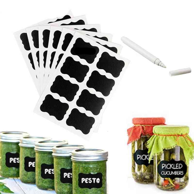 Blackboard Stickers Labels Diy White Liquid Chalk - Kitchen Spice Jar Salt, Pepper Organizer