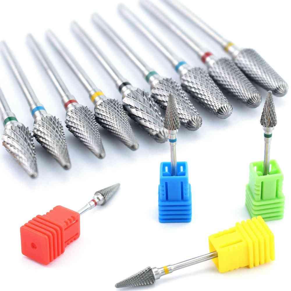 Cone Carbide Tungsten Nail Drill Burr Bits Milling Cutter - Manicure Machine, Electric Drill Bit