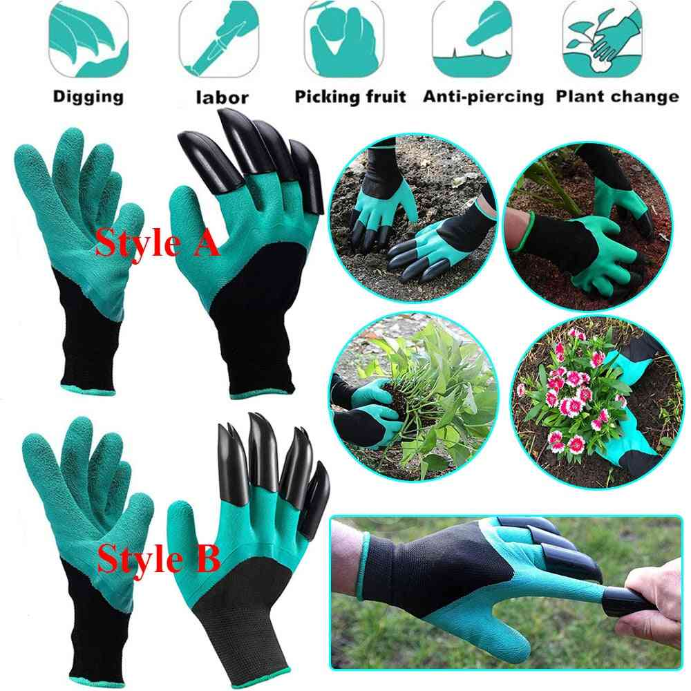 Gardening Gloves With Claws Abs Plastic, Easy Raking Planting Dig, Lawn Care Outdoor Living