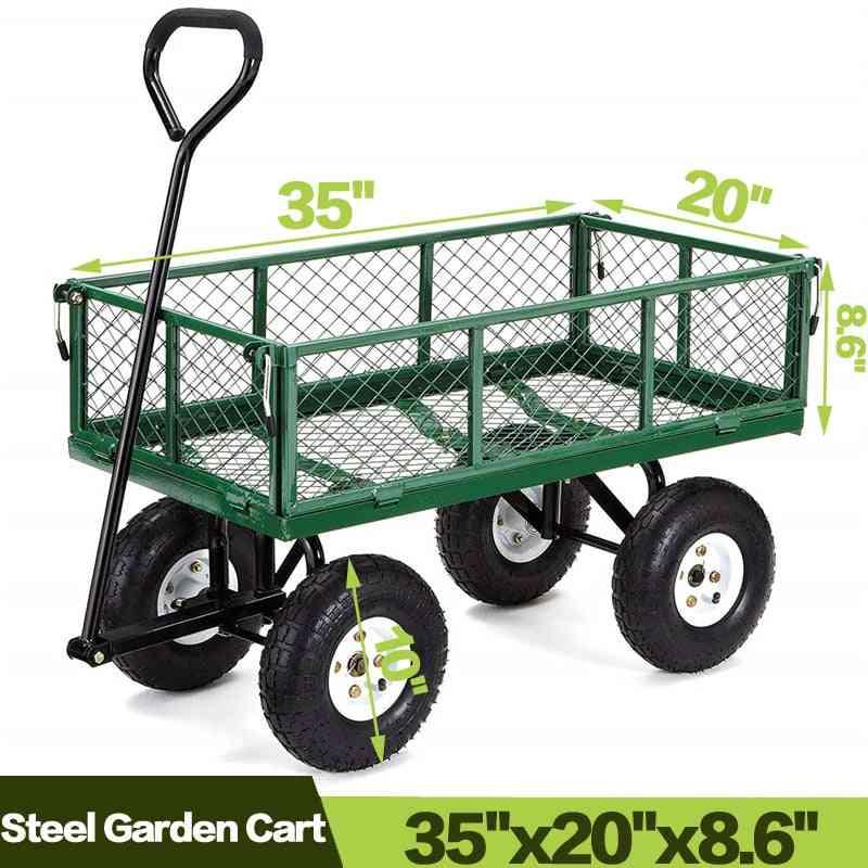 Yard Dump Wagon Cart, Lawn Utility Outdoor Steel Heavy Duty Beach Lawn Cart