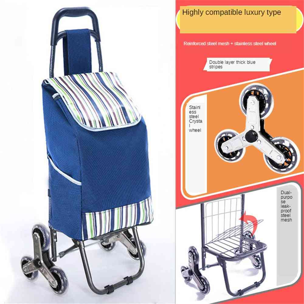 Foldable Stair Climber Cart With Extra Large Shopping Bag