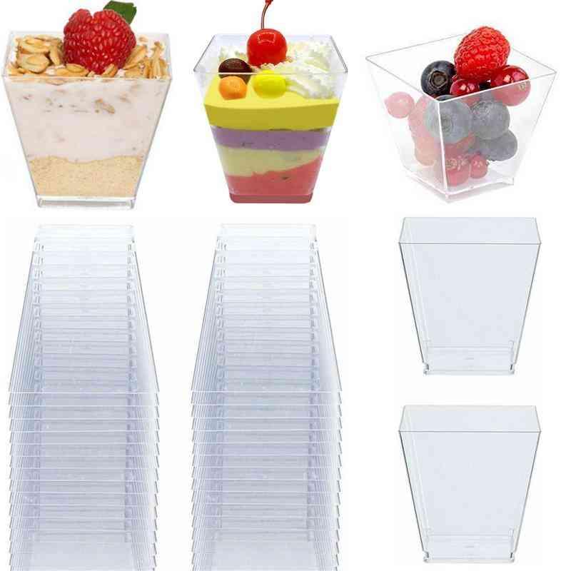 50pcs Transparent Disposable Trapezoidal Plastic Cups