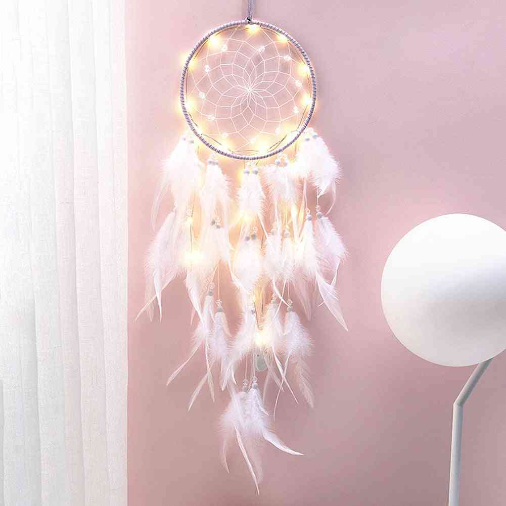 Girl Heart Dream Catcher - Ornaments Lace Ribbons Feathers