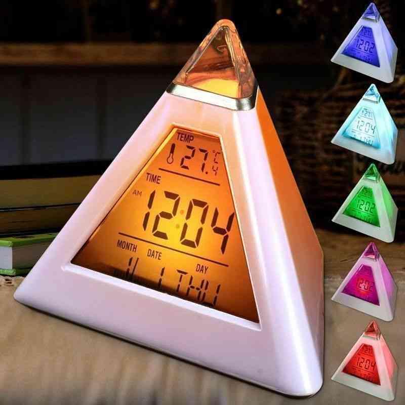 7 Color Led Pyramid Digital Alarm Clock With Temperature