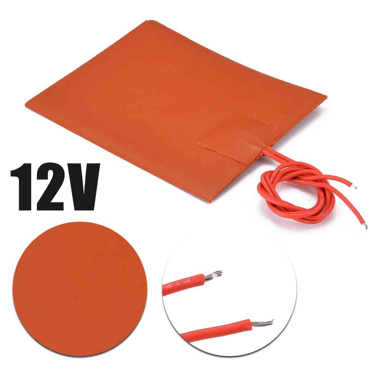 12v Dc 20w Flexible Waterproof Silicon Heater Pad For 3d Printer Heat Bed Electric Pads Red