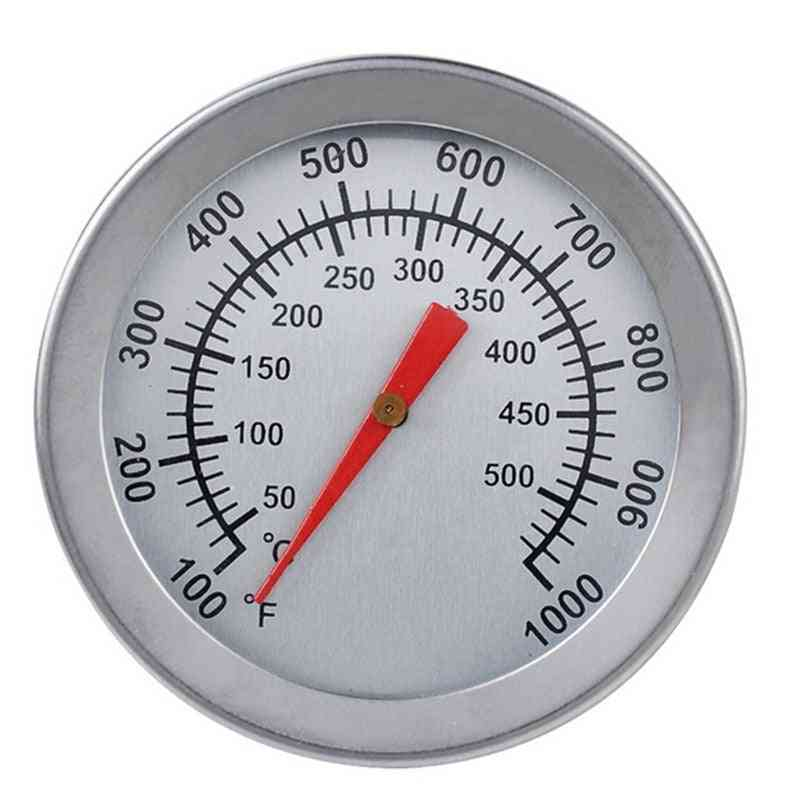 Stainless Steel Bbq Smoker Pit Bimetallic Grill Thermometer Temp Gauge With Dual