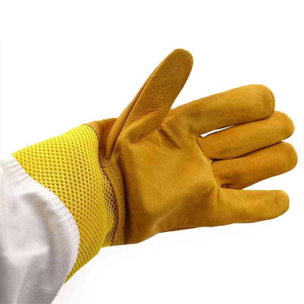 Protective Beekeeping Gloves, Net Goatskin Vented Long Sleeves