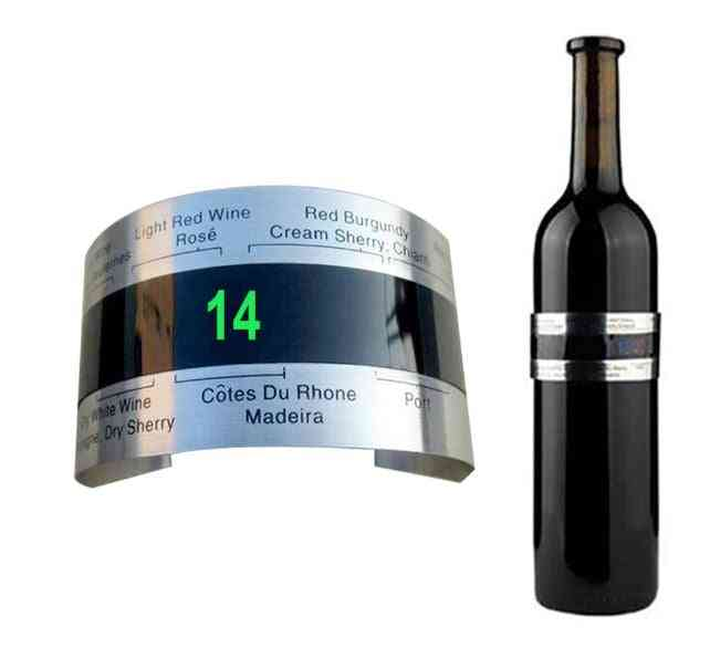 Stainless Steel Bottle Wine Lcd Display Serving Party Checker Wristband Thermometer
