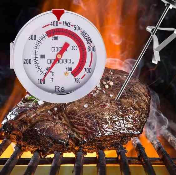 Oven Silver Probe Bimetallic Meat Thermometer
