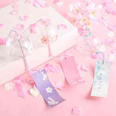 Japanese Sakura Style Glass Cherry Blossom Wind Chime - Hanging Doorbell