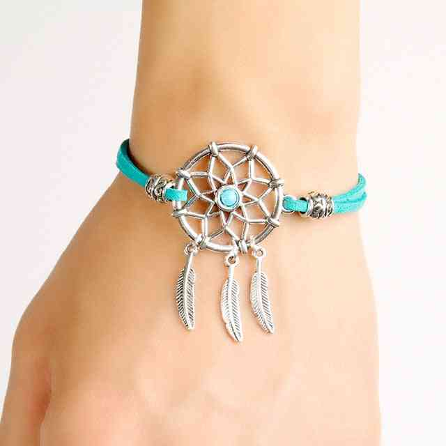 Dreamcatcher Bracelet With Alloy Feather - Handmade