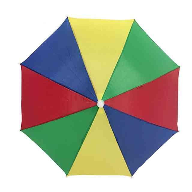 Sunny And Rainy Umbrella, Hands Free Rainbow Folding & Waterproof Multicolor Hat