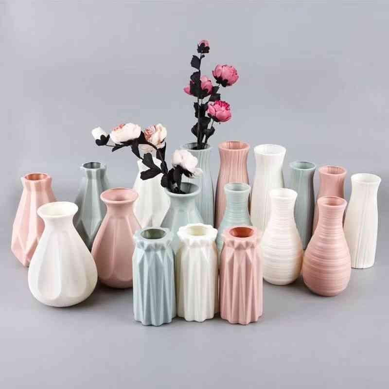 Beautiful Plastic Flower Vase - Imitation Ceramic Flowerholder