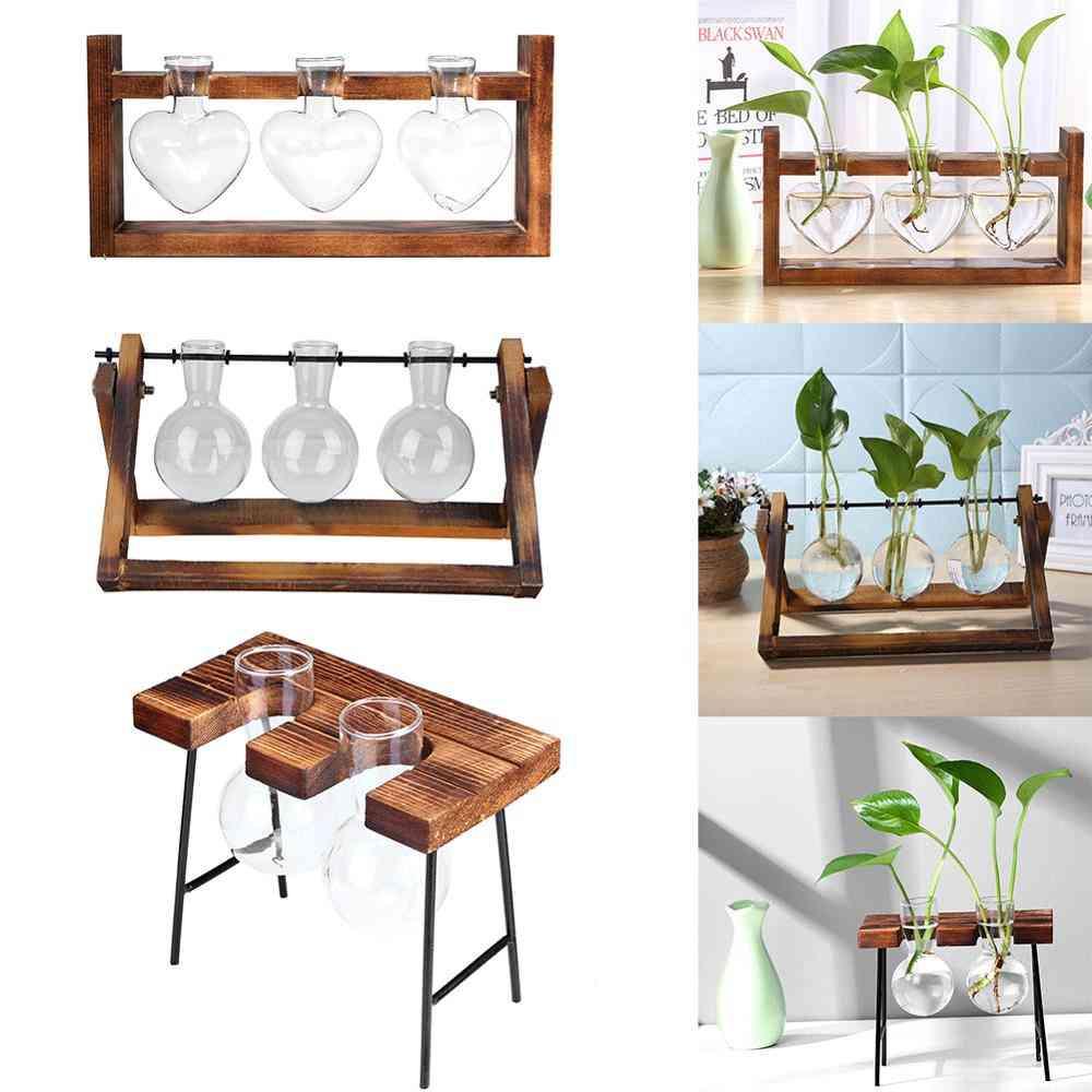 Glass And Wood Vase Planter - Terrarium Hydroponic Plant Flower Pot