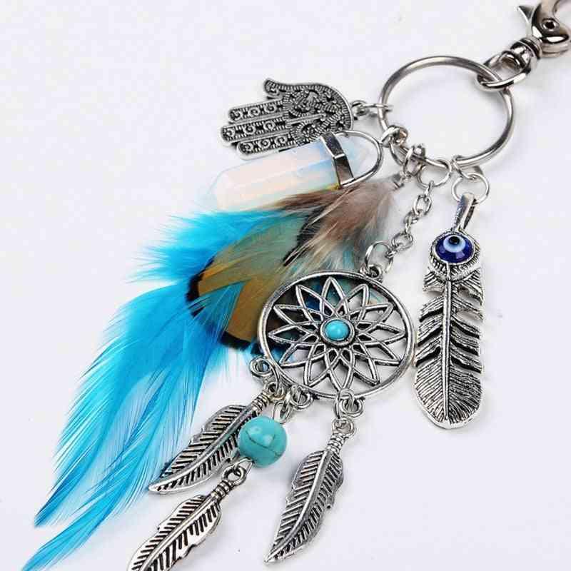 Bead Dream Catcher - Feathers Tassels Key Ring Buckle