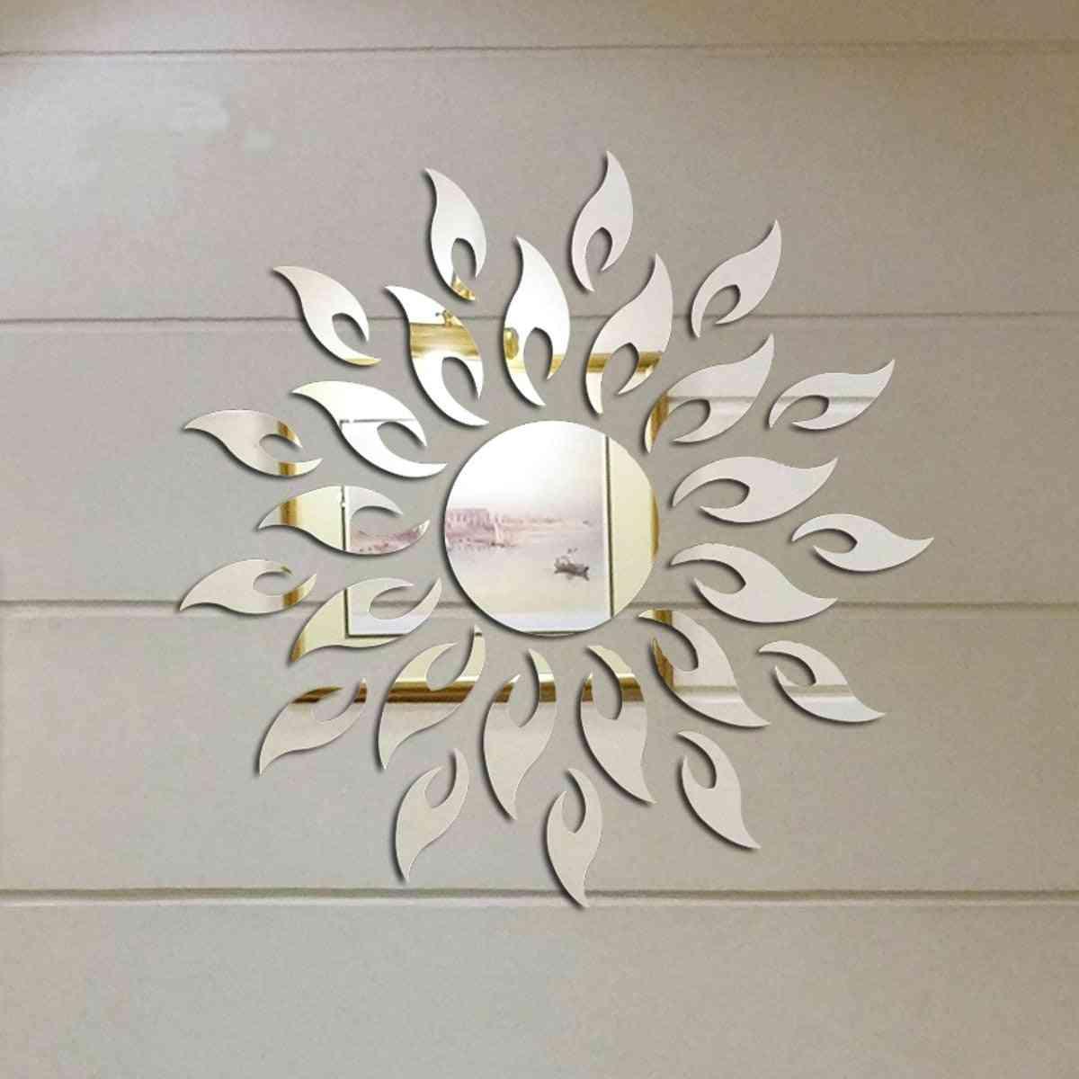 3d Sunshine Sun Flower Decorative Diy Removable Wall Mirror Sticker