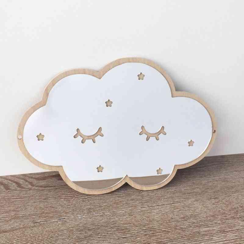 Wood Frame Decorative Mirror - Nordic Crown Cloud Stars Cat Acrylic