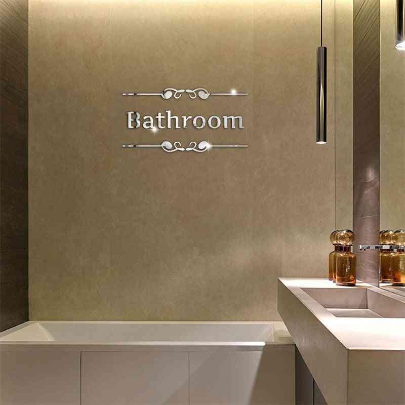 Acrylic Pattern, Decorative Mirror Wall Sticker For Toilet / Bathroom