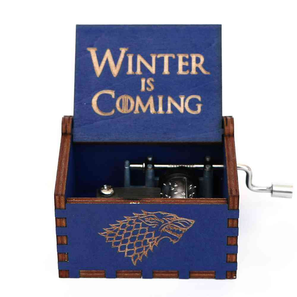 Winter Is Coming Engraved Wooden Hand Crank Music Box