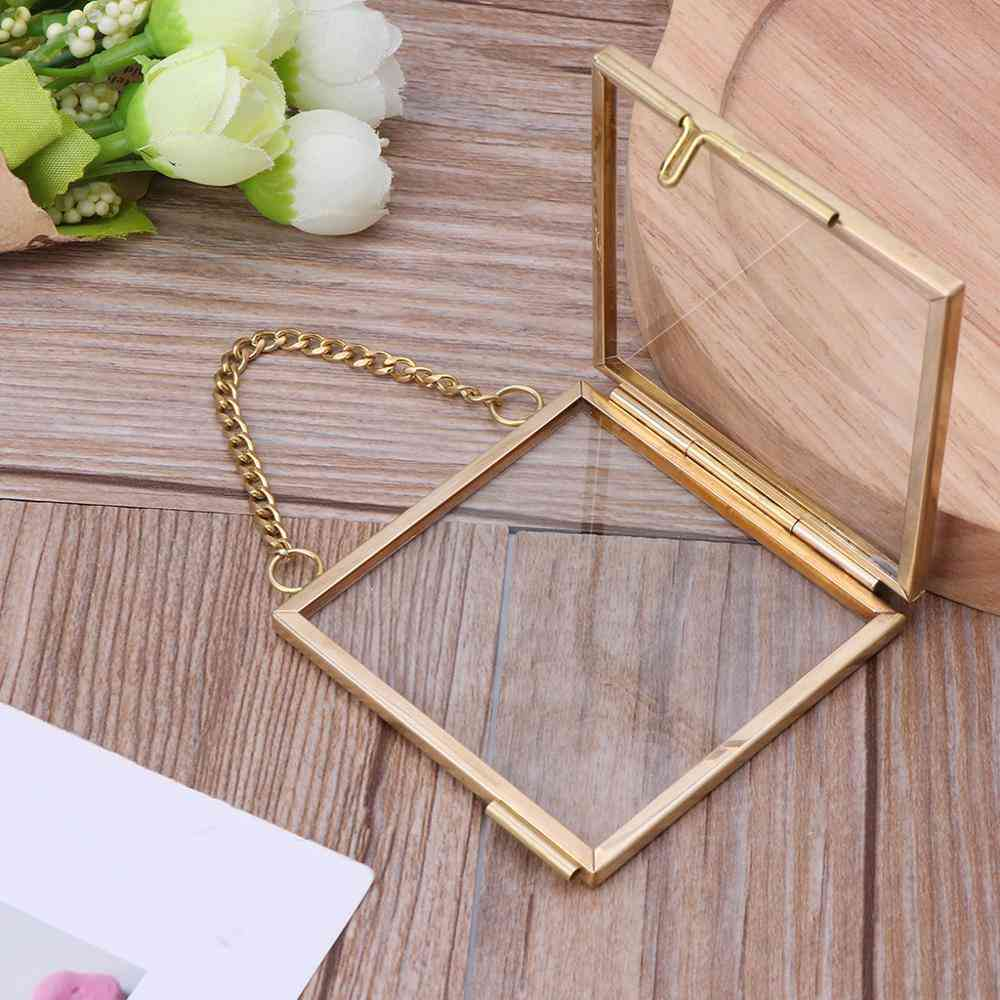 Vintage Style Bronze Glass Metal Picture Frame - Free Holder Hanging Antique Picture Frames
