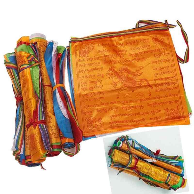 Artificial Silk Tibet Lung Ta Scriptures Banner Flags - Tibetan Buddhist Religious Flags