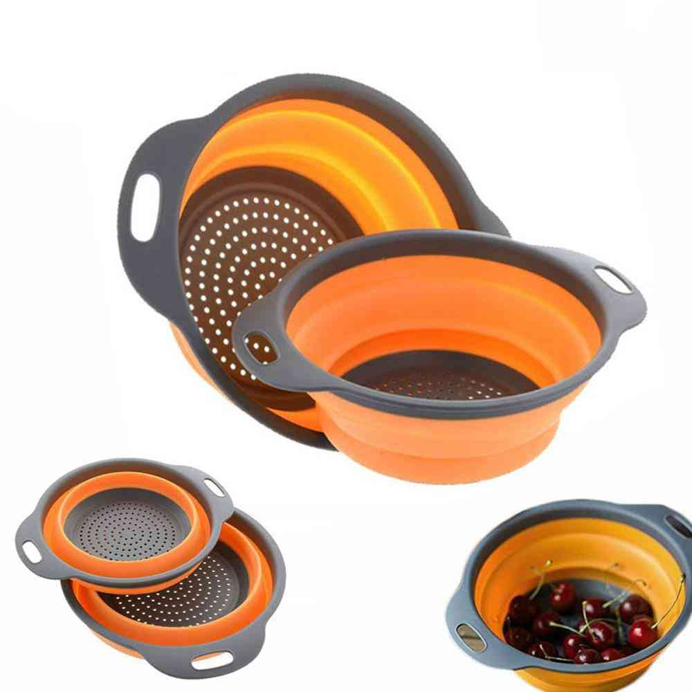 Foldable Silicone Colander Fruit Vegetable Washing Strainer Basket - Collapsible Drainer