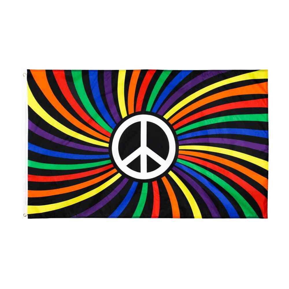 Lgbtqia Gay Pride Rainbow Peace Flag