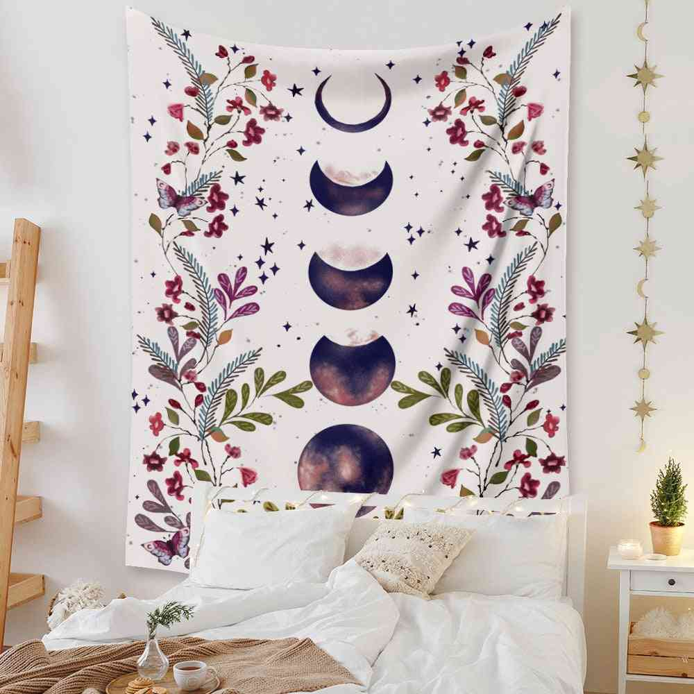 Psychedelic Art Moon Starry Flower Scenery Wall Hanging Tapestry