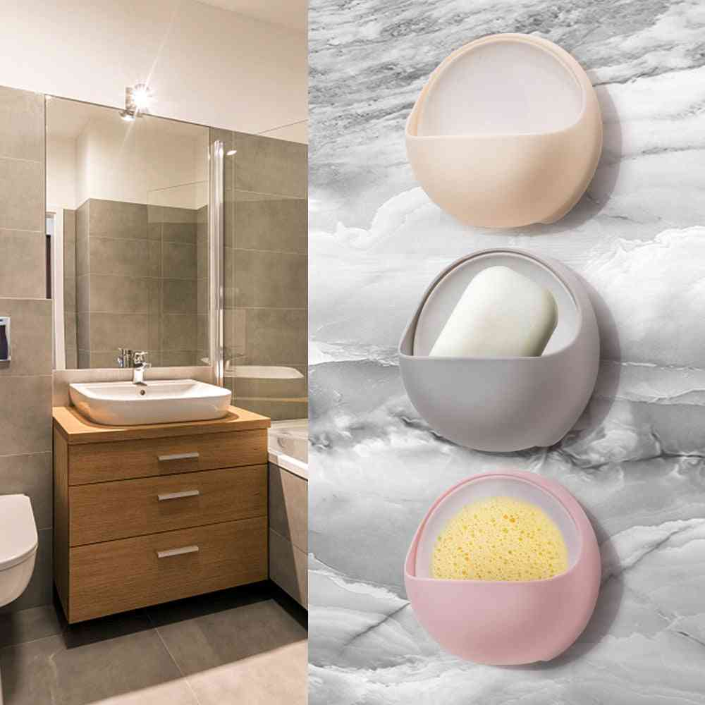 Plastic Suction Cup Draining Soap Dish Holder & Storage Rack For Bathroom Accessories