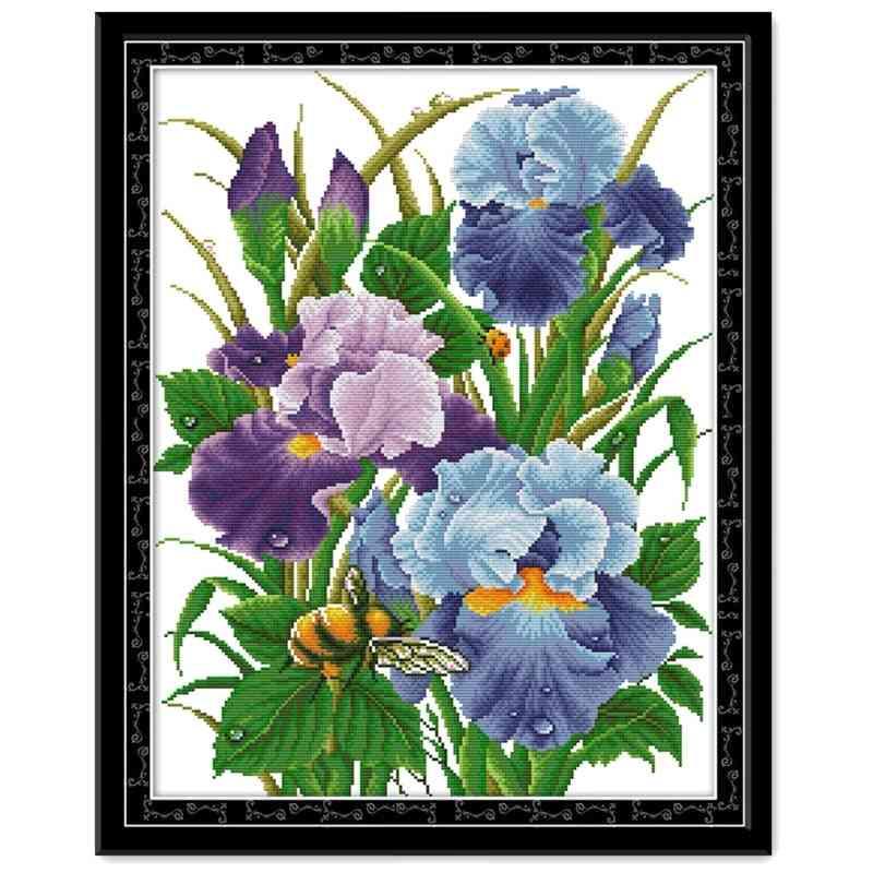 Iris Flower Cross Stitch Cloth Needlework Embroidery Kit - Aida Fabric Count Print Canvas Tools