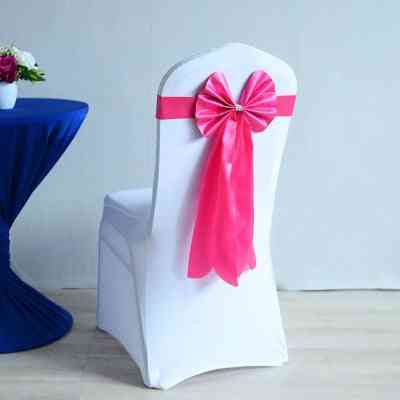 Spandex Chair Sash - Long Tail Ready Made Bow Tie Wedding Chair Decoration