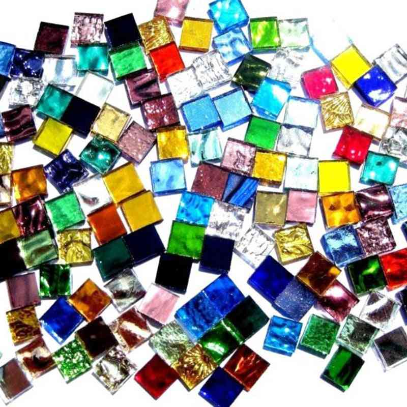 Mixed Color Clear Glass Square Mosaic Tiles For Diy Crafts