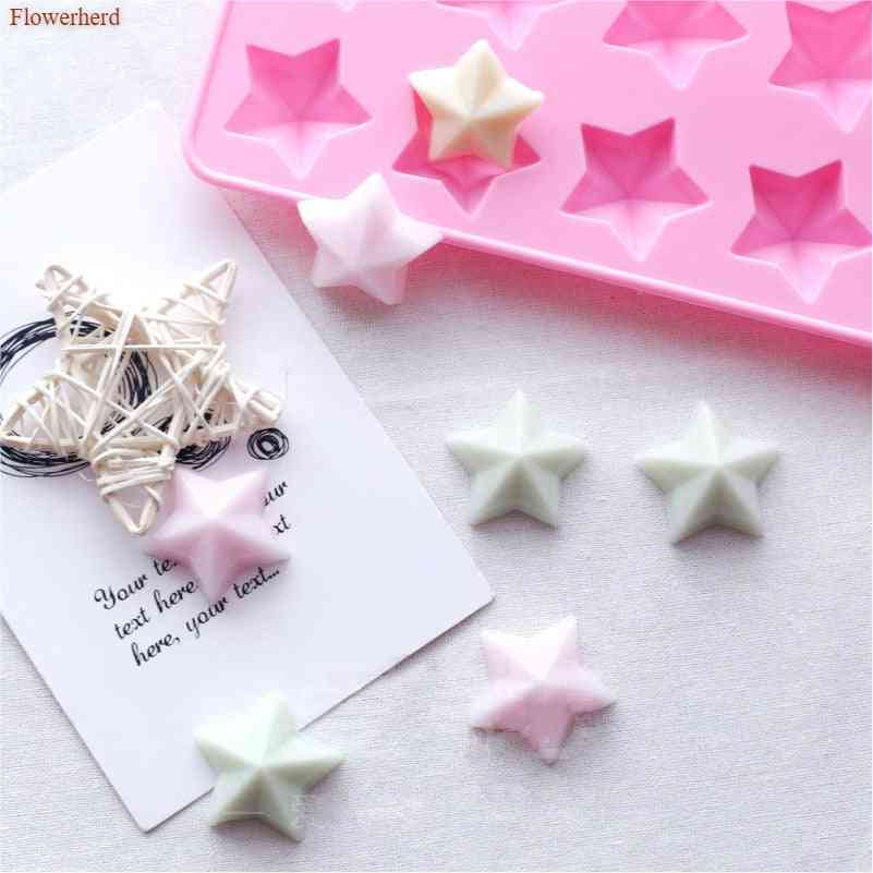 3d Stars Handmade Flexible Silicone Soap Mold - Diy Chocolate Biscuit Fondant Mold
