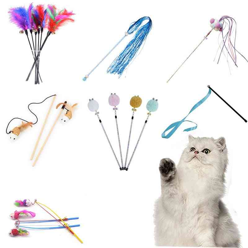 Funny Cat Toy Kitten Interactive Stick & Fishing Rod Game Wand Feather Toy