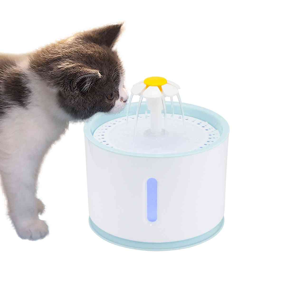 Led Electric Usb Automatic Pet Cat Water Fountain Mute Drinker Feeder Bowl & Dispenser