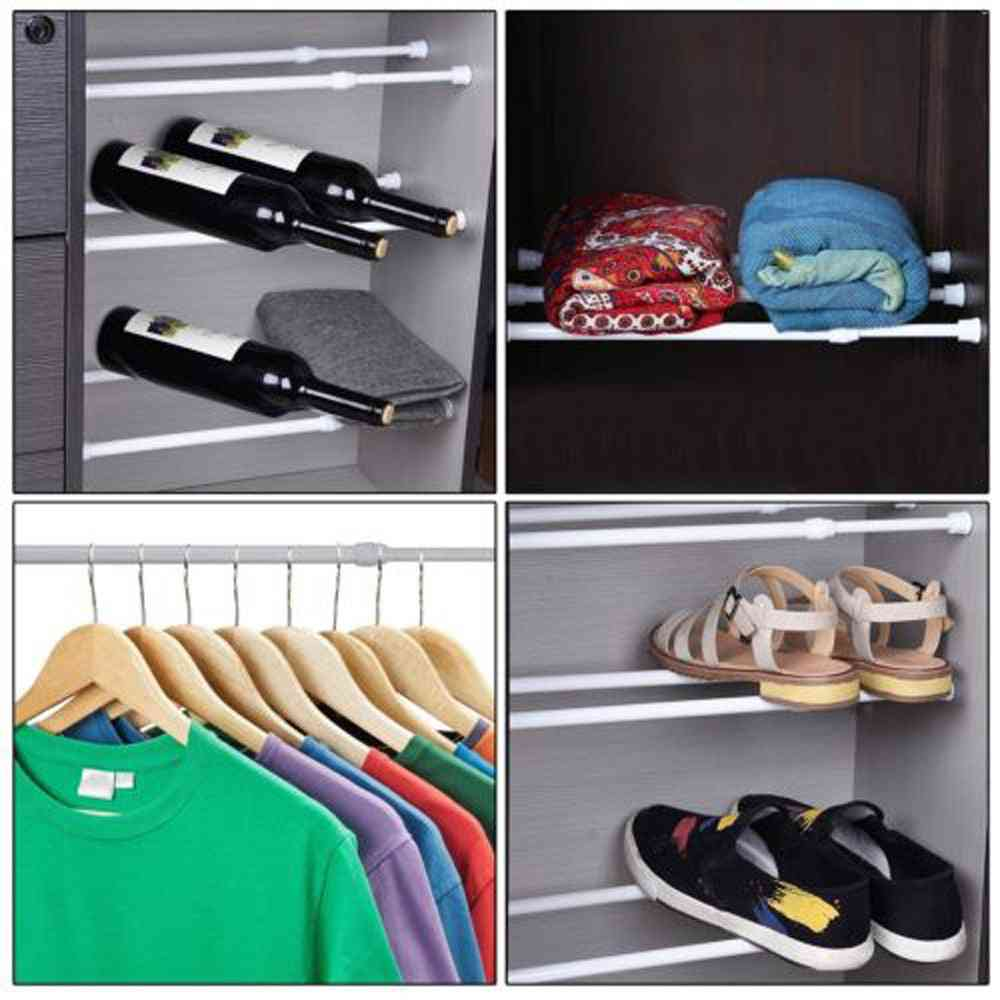 Spring Loaded Telescopic Rods - Adjustable Rail Poles, Wardrobe Extendable Punch Free Clothes Shoes Rack