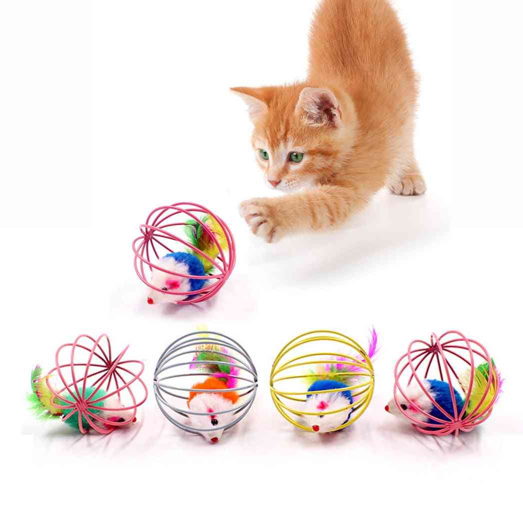 Interactive Artificial Cat Toy Stick - Feather Wand With Small Bell Mouse Cage
